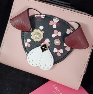 NWT Kate Spade Floral Pup Small l-Zip Bifold Walle